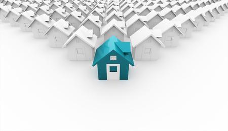 家のレンダリング概念前部が青
