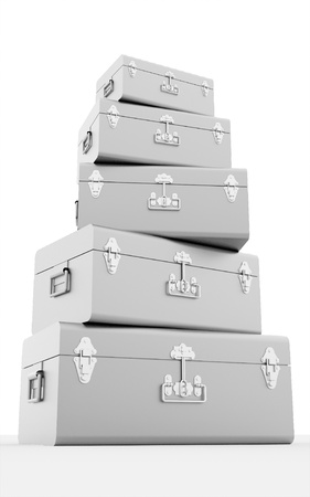 Many silver chest cases isolated on white background photo