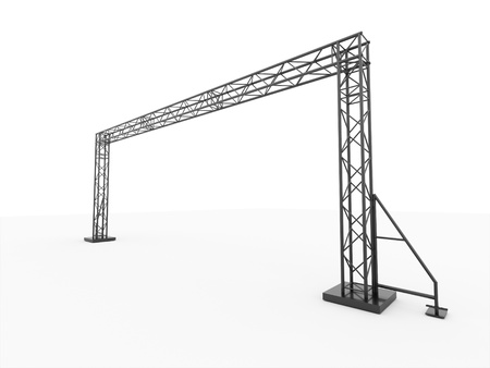 Simple stage construction rendered on perspective isolated photo