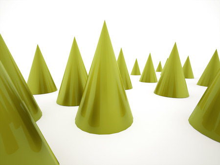 Green cones background rendered on white photo