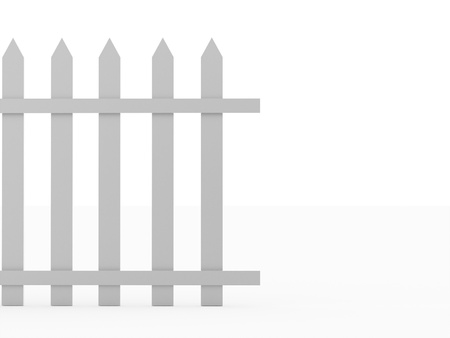 Wooden old fence concept rendered on white background photo
