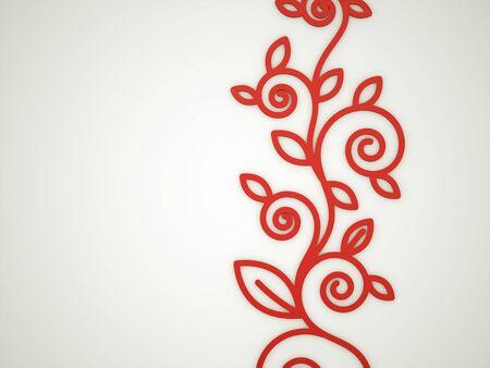 Red floral motive rendered