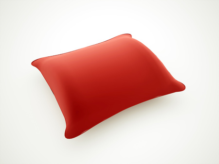 Red pillow rendered isolated on white background Stock Photo - 23235351