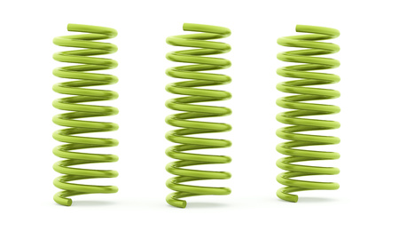 metal spring: Three green spirals rendered and isolated on white background