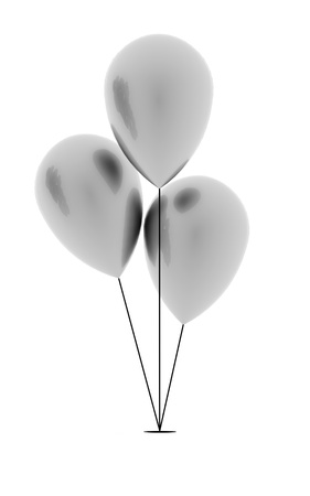 Silver balloons rendered on white background photo