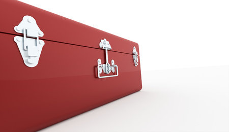 bussinesman: Red suitcase isolated on white background Stock Photo