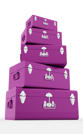 Many pink suitcases isolated on white background photo