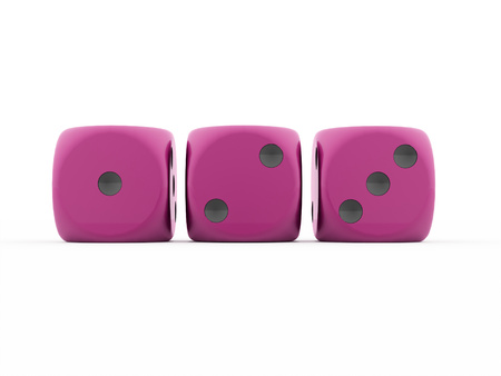 Three pink dices rendered on white background photo