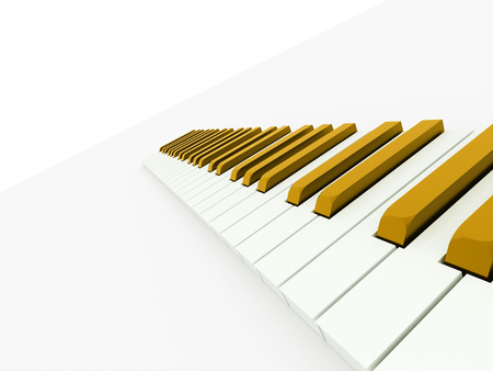 Gold piano keyboard concept rendered on white background photo