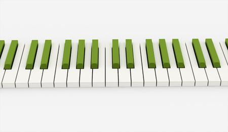 レンダリング緑ピアノ キーボード
