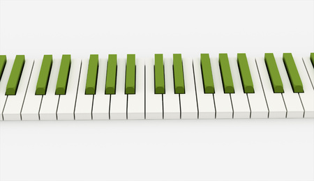 ebony: Green piano keyboard rendered Stock Photo