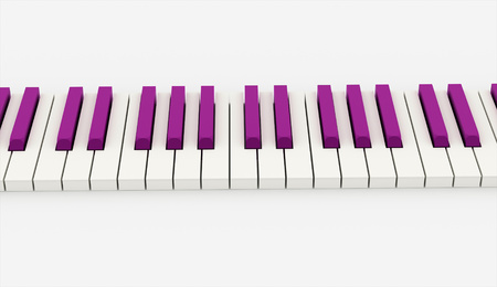Pink piano keyboard rendered on white background photo