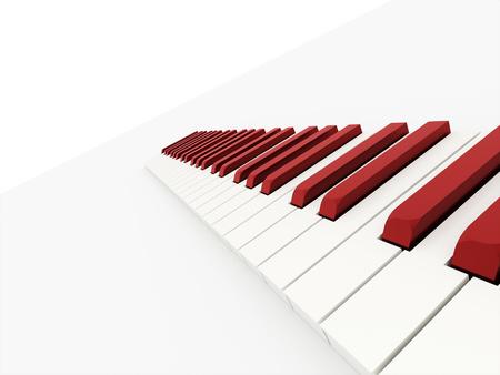 白い背景上に描画赤いピアノ キーボードの概念