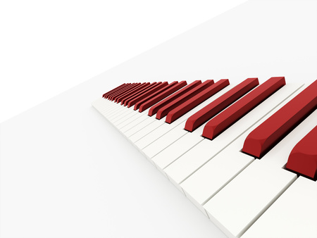 Red piano keyboard concept rendered on white background