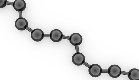 Black molecule structure rendered on white background photo