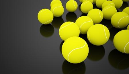 tenis: Many tennis balls rendered on black background Stock Photo