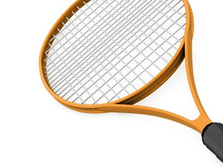 tenis: Orange tennis racket rendered on white background Stock Photo