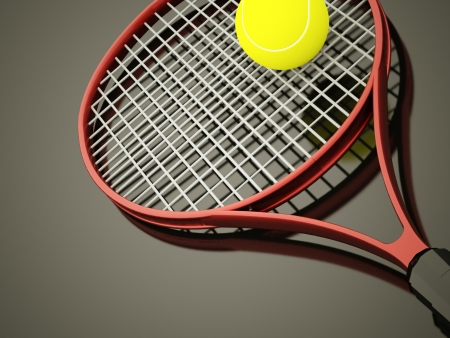 tenis: Red tennis racket rendered with ball on dark background