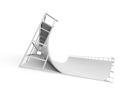 skatepark: Skateboard ramp rendered and isolated on white background