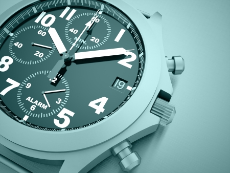 Sport watch rendered on blue color photo