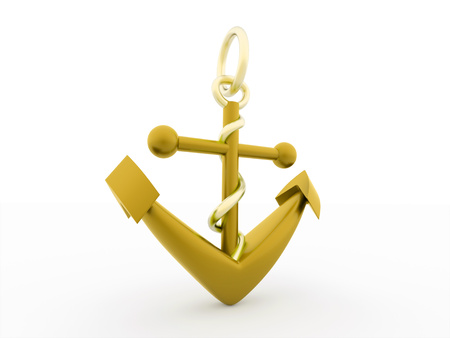 Gold anchor rendered isolated on white background photo