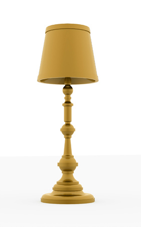 Classic yellow vintage lamp rendered on white background photo
