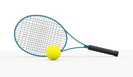 tennisball: Blue tennis racket with ball on white background Stock Photo
