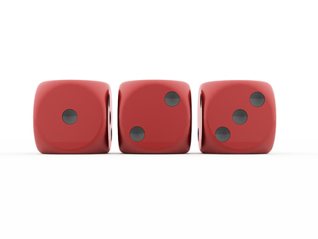 Three red dice rendered isolated photo