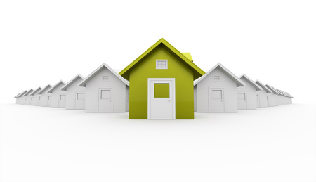 House concept rendered one is green isolated on white background photo