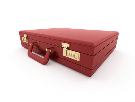 Red suitcase isolated on white background photo