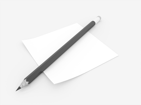 Black pencil with note rendered on white background photo