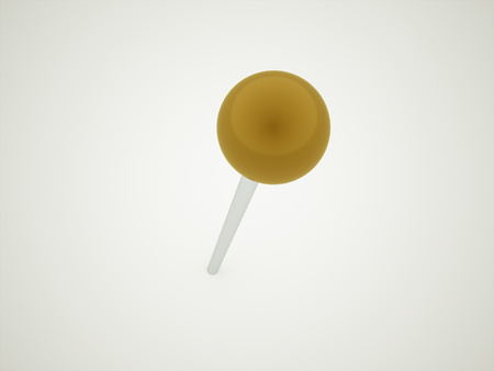 pierced: Yellow pierced push pin rendered Stock Photo
