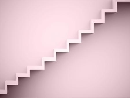 壁にレンダリングされた階段コンセプト レッド
