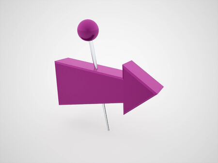 Purple push pins with arrows rendered isolated on white background photo