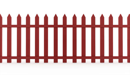 Red fence concept rendered on white background