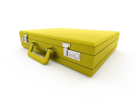 Yellow suitcase isolated on white background photo