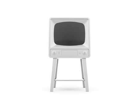 Old retro TV isolated on white rendered photo