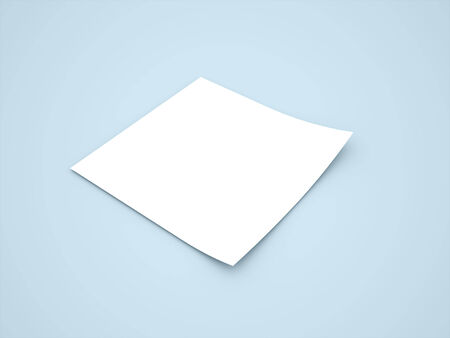 Blank note paper with shadows on blue background photo