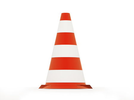 Red road cone isolated on white background photo