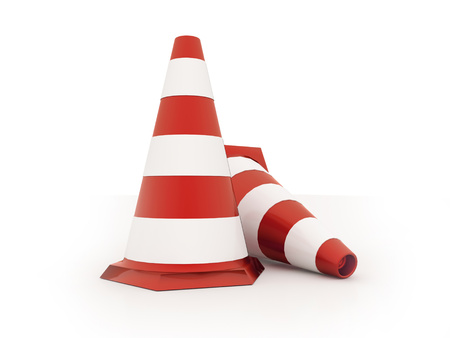 Red road cones rendered isolated on white background photo