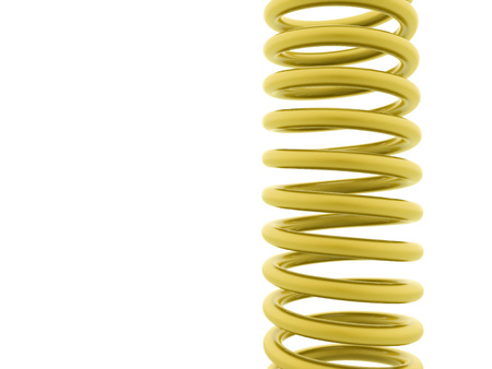 coil car: Gold metal spiral string on white background