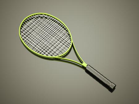 tenis: Green tennis racket rendered on dark background