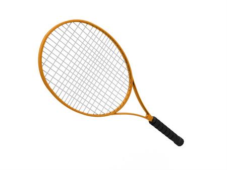 raquet: Orange tennis racket isolated on white background