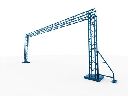 ブルー ステージ建設に分離の白い背景をレンダリング