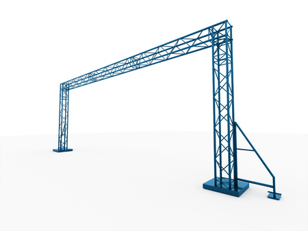 Blue stage construction rendered isolated on white background photo