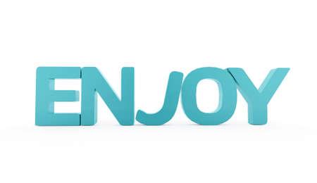 Blue enjoy text isolated on white background photo