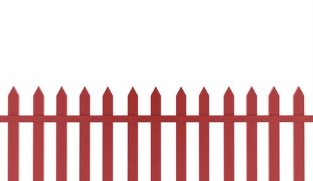 Red fence concept rendered on white background photo