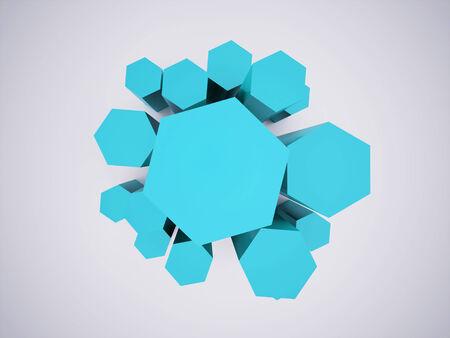 Blue hexagonal icon concept rendered Stock Photo - 25708667