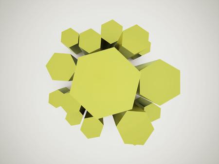 Green hexagonal icon background rendered photo