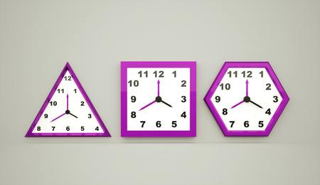 Three pink clock rendered on dark background photo